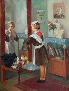 """Копия с работы художника А.В.Волкова """"Первое сентября"""" 1951"""