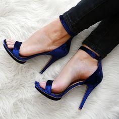 Stack Up Velvet Ankle Strap Heels  #gojane #heels #velvet