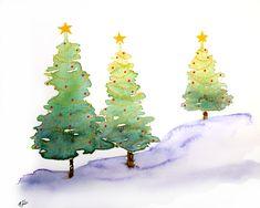 ekeyart: Arboles para la Navidad, acuarela y rotuladores  /  Trees for Christmas, watercolour and markers