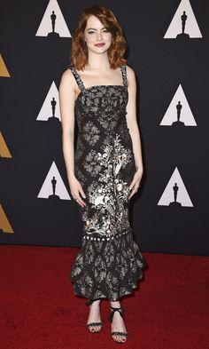 Emma Stone in a black-and silver Dolce & Gabbana midi dress