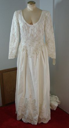 Vintage 80s Ivory Wedding Gown Long Sleeves M Gold Beading NOS NWT by TheScarletMonkey on Etsy