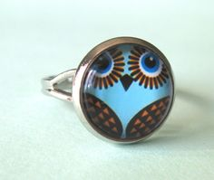 Cute 'Retro Owl' glass cabochon ring owl ring by DoodlepopDesigns, $6.00