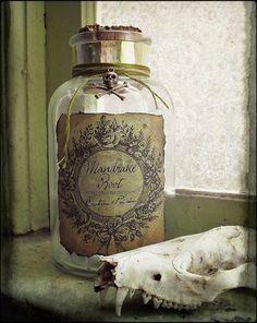 Mandrake Root Antique Potion Bottle  on Etsy, $13.00  halloween herb root magic decor