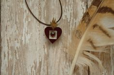 Sacred Nicho Mexican Milagros Wooden Gold Leaf Flaming Heart Fire Garnet Pendant Necklace Religious Relic Ambient Atelier Art Jewelry Design by AmbientAtelier on Etsy