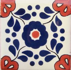 "C044- Mexican Handmade Talavera Clay Tile Folk Art 4x4""  Handpainted #Talavera"