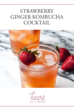 Are you looking for a quick and easy cocktail recipe? Click through to find out how to make this Strawberry Ginger Kombucha Cocktail! | Heart of a Baker #cocktail #cocktailrecipe #kombuchacocktail Easy Alcoholic Drinks, Easy Cocktails, Drinks Alcohol Recipes, Yummy Drinks, Kombucha Cocktail, Cocktail Drinks, Cocktail Recipes, Strawberry Vodka, Healty Dinner