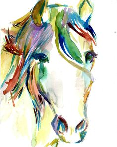 Print of Watercolor Painting Horsin' Around 8 x by ArtbyJessBuhman, $25.00 #horse #art #watercolor