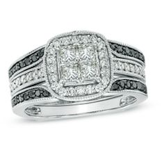 1 CT. T.W. Princess-Cut Quad Diamond Frame Bridal Set in 14K White Gold