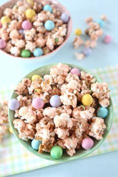 Salted Caramel Easter Popcorn 6 cups plain popped popcorn 2 cups coarsely chopped salted pretzels 1 cup granulated sugar 1/2 teaspoon sea salt, plus more for sprinkling 1/4 cup water 1/3 cup heavy cream 1/2 teaspoon vanilla extract 1 cup miniature marshmallows Drop of red food coloring-if you want to make the popcorn pink for Easter 1 1/2 cups Easter Pretzel M's OR ANY HOLIDAY!