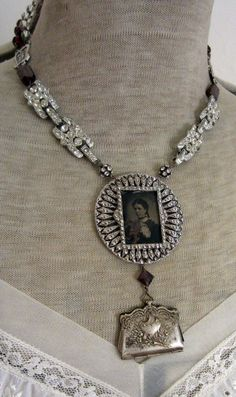 miss judy's purse - vintage assemblage necklace with rhinestones, tintype and rosaries by the french circus. $160.00, via Etsy.