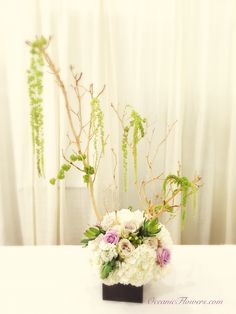 Manzanita tree centerpiece with a touch of whimsical usage of the hanging green amaranthus