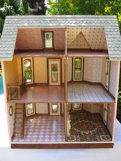 Dollhouses by Robin Carey: The Elizabeth Street Victorian Dollhouse Wooden Dollhouse, Victorian Dollhouse, Diy Dollhouse, Dollhouse Miniatures, Barbie Furniture, Dollhouse Furniture, Casa Lego, Café Design, Doll House Crafts