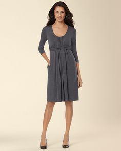 Soma Intimates 3/4 Sleeve Wrapped Waist Dress Heather Quartz #somaintimates