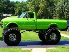 lime green jacked up truck