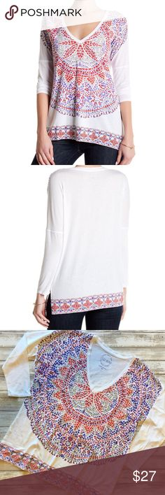 """New ✨Lucky Brand Long Sleeve Graphic Tee Top New with tags   Super cute V-neck top by Lucky Brand  - Long sleeves - Front graphic print - Printed contrast hem - Side slits - Approx. 26"""" length - Imported Fiber Content 52% micromodal, 48% Supima cotton  Thank You and Happy Poshing😊 Lucky Brand Tops Tees - Long Sleeve"""