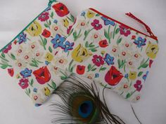 Handmade Coin Card Childrens Kids Purse Cath Kidston Paradise Fields Floral Flowers Fabric Gift Fully lined, choice of zip colour