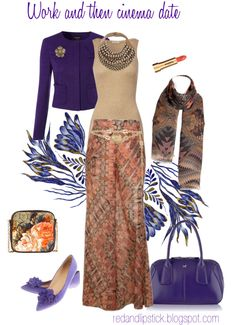"""Palazzo pants and flats"" by carolgrant on Polyvore -- the Palazzo pants and beige top/necklace are soft autumn, the purple is winter."