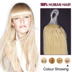 100S Micro rings/loop 20inches Indian Human Hair Extensions #60_White Blonde