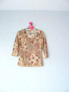 T-shirt manches 3/4,mode style shabby,femme taille S - 38 : T-Shirt, debardeurs par mon-armoire-jolie