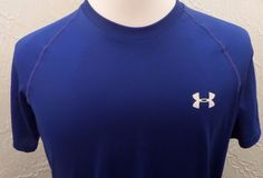 Men's Under Armour Heat Gear Loose Fit Tee Navy Blue Medium EUC #UnderArmour #ShirtsTops