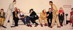 Norman Rockwell, Maternità, Sala d'attesa, 1946 | #00doppiozero #abbiculturadite #Belpoliti #Attese