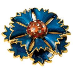 Russian Imperial Cornflower Pin - The Museum's Russian Imperial Flower jewelry suite, including this stunning cornflower pin, is based on individual flowers in the Basket of Flowers Egg created by master jeweler Peter Carl Fabergé (Russian, 1846–1920).