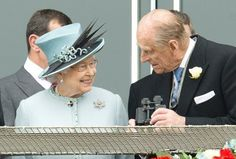 Queen Elizabeth II and Prince Philip, The Duke of Edinburgh in the Queens stand at the Epsom Derby, June 1, 2013