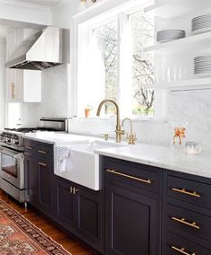Elegant Kitchen Cabinets with Gold Hardware