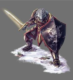 m Dragonborn Fighter Plate Shield Sword hilvl d&d character art