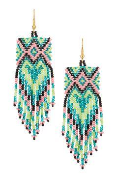 beaded fringe festival earrings