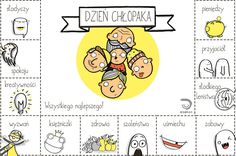 Dzień chłopaka Diy Presents, School Notes, Child Development, Kids And Parenting, Gifts For Him, Illustrations Posters, Back To School, Diy And Crafts, Kindergarten