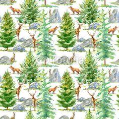 Materiał do szycia Floral seamless pattern of a wild animal, spruce and stone.Deer, fox and hare.Watercolor hand drawn illustration.White background.. Zobacz materiały do szycia drukowane na zamówienie autora jula_lily. Zamów bawełniany materiał do szycia z wzorem w sosna, świerk, akwarela, bezszwowe, wzór, tło, las, zwierzę, lis, królik, zając, płowej, kamień, natura, projektować, drzewa, drewno, gałąź, zawijanie, ręka, zielony, iglaki, ilustracja, pejzaż, wiejski, dziki, trawa, prosty…
