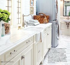 Farmhouse sink, marble, stacked laundry