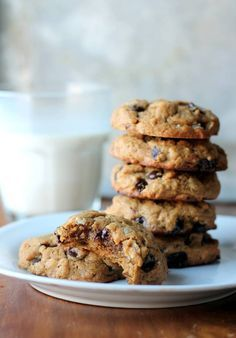 Thick & Chewy Peanut Butter Oatmeal Chocolate Chip Cookies made with no flour or butter