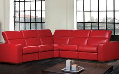 Sectional James - Contemporary Style - Linea 30 Collection. Red leather sectional. Retractable head-rest, Power recline mechanism. Recliner.