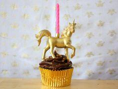 Gold Unicorn Birthday Candle Holder on Etsy, $3.75