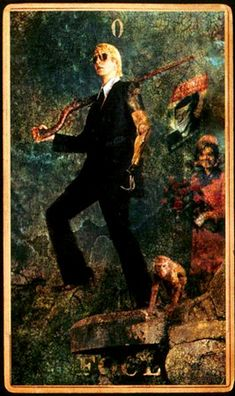"""In the traditional Tarot card deck the Fool card holds a special place. In most images of the Fool, a vagabond or wandering minstrel is seen about to walk off a cliff. This represents taking a """"blind leap of faith"""" or """"launching one's self into the void."""" Some experts say the Fool also represents taking action where circumstances are unknown, and/or taking a risk."""