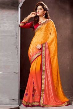 Designer festival Sari collection with blouse are now in store presented by Andaaz Fashion like Orange Georgette Saree with Art Silk Blouse with price $70.32. This Saree is embellished with Embroidered, Patch, Resham. http://www.andaazfashion.us/orange-georgette-saree-with-art-silk-blouse-dmv7763.html