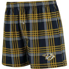 Nashville Predators Concepts Sport Playoff Plaid Knit Boxer Shorts - Navy/Gold - $17.99