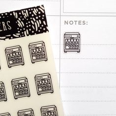 Clear Dishwasher Planner Stickers  These stickers are super fun for accenting your planner!  • You will receive 1 sheet of 56 dishwasher stickers. •