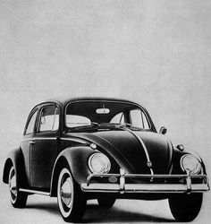 VW Beetle in black and white