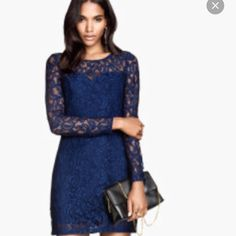 Lace mini. This dress is a mini, long sleeve, and open back. Brand new never worn! H&M Dresses Mini