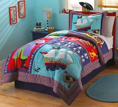 Blue & Red Pirate Ship Quilt Bedding for Boys - 2pc Set #kidsroomstore $109.99