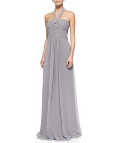 Halter Woven Ruched-Bodice Gown, Slate by ML Monique Lhuillier at Neiman Marcus.