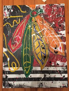 Chicago Blackhawks feathers and jersey by CarolWoldhuisInvites