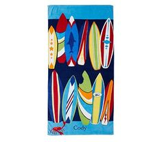 Surf Beach Towel #PotteryBarnKids/ Dj would want one too! OMG the crab on the bottom is adorbs!