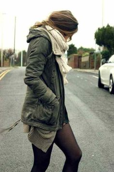 Fall outfit, layers and army coat and black tights