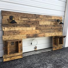 Rustic Headboard, Rustic Lights, Headboard, King Size Headboard, Queen Size  Headboard, Cabinets, Outlets And USB Charger, Modern Headboard