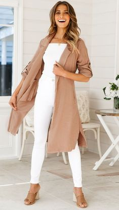 Lapel Plain Pocket Roll Up Sleeves Belt Casual Trench Coat – Bellalike Summer Work Outfits, Casual Work Outfits, Work Casual, Classy Outfits, First Date Outfits, Business Casual Outfits For Women, Professional Outfits, Summer Business Casual, Womens Business Casual Outfits