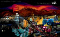 Amazing body painting of the Las Vegas strip by Craig Tracy.